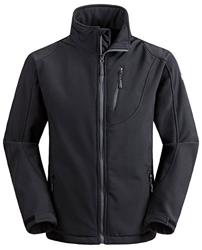 Wantdo Men's Front Zip Up Softshell Windproof Stand Collar Jacket Gray S