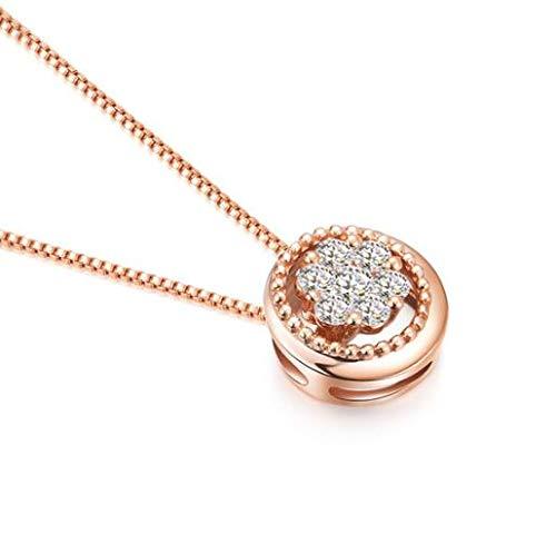 XIAOMING Collar Colgante De Estilo Collar De Diamantes Mujer del Oro De K De Diamantes Mujer Moderna Reina Variedad Pink