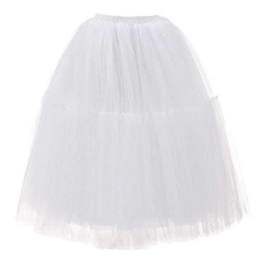Vimoli Kleider Damen Tüllrock 50er Rockabilly Petticoat Tutu Unterrock Kurz Ballett Tanzkleid Ballkleid Abendkleid (Weiß,L3)