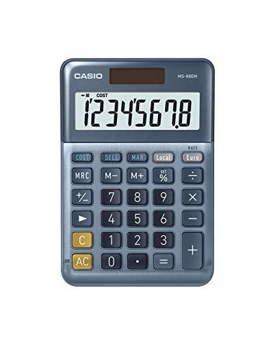 CASIO Bordsräknare MS-88EM, 8 siffror, valutkonvertering, kost/sälj/margin, aluminiumfront, sol-/batteridrift