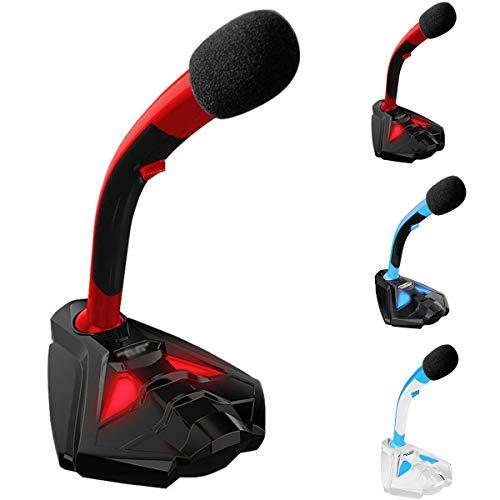 USB Microfoon Bedraad Condenser Microfoon met LED Licht Desktop Laptop Computer Microfoon voor Gaming/Podcast/Stream/Chatting Zwart + Rood