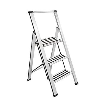 Sorfey Premium 3 Step Modern Aluminum Ladder Lightweight,-Ultra Slim Profile Anti Slip Steps Sturdy-Portable for Home Office Kitchen Photography Use Aluminum Finish