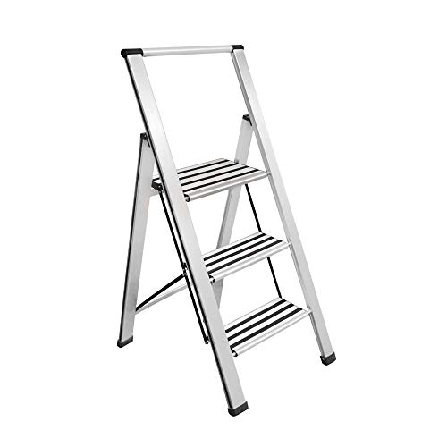 "Sorfey Aluminum Folding 3 Step Ladder, Anti Slip, Sturdy, Lightweight and 2"" Slim Design, Very Easy to Store, Heavy Duty, Silver"