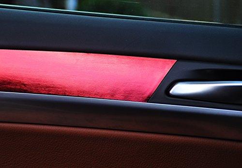 12 tlg. Alu gebürstet rot Look Zierleisten Interieurleisten Folien SET 100µm stark , Türleisten, Mittelkonsole, Aschenbecher passend für Ihr Fahrzeug