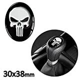 SkinoEu® 1 x Schalthebel Aufkleber Oval Schaltknauf Emblem 30 x 38mm Silikon Sticker Punisher Skull...