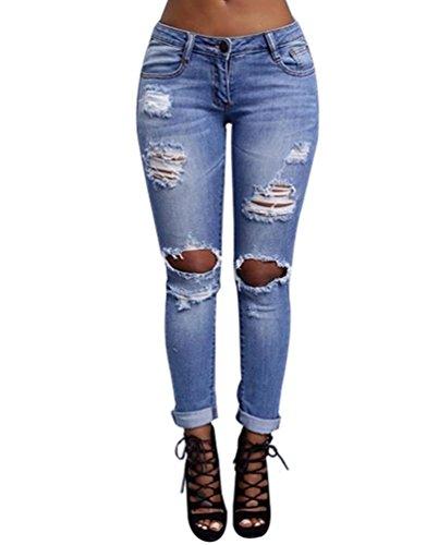 WanYang Donne Primavera Estate Autunno Jeans Grandi del Ginocchio Femminili Pantaloni Slim Strappati Skinny Stirata