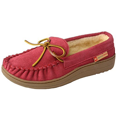 Alpine Swiss Sabine Womens Suede Shearling Slip On Moccasin Slippers Red 10 M US