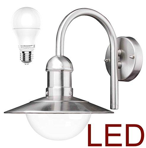 DBLV LED Wand-Außenleuchte mit & LED Leuchtmittel Edelstahl Außenlampe Hoflampe Gartenlampe Gartenleuchte [Energieklasse A+]