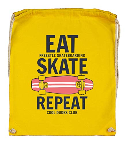 Druckerlebnis24 Turnbeutel - Eat Skate Repeat Skateboard - Stoffbeutel aus Bio Baumwolle