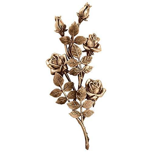 AmazinGrave - Dekorative Zweige und Messing Blumen für Bestattungs Dekoration - Ornament für Grabstein 40x17cm - Grabschmuck Bronze 3750