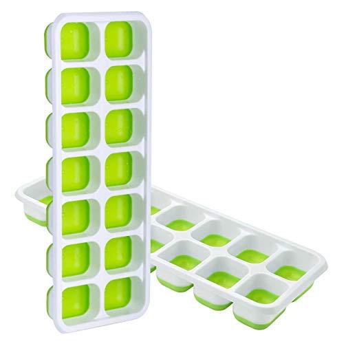 TOPELEK 14-Fach Eiswürfelform Silikon Eiswuerfel Mit Deckel Ice Tray Ice Cube, Kühl Aufbewahren, LFGB Zertifiziert, Grün (2er Pack)