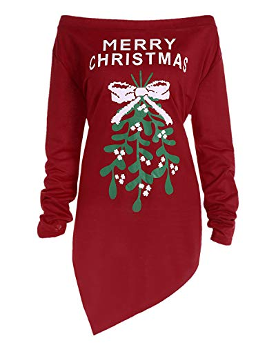 BBYES Women's Sexy Off The Shoulder Long Sleeve Ugly Christmas Xmas Holiday Tunic Top Tee Shirts Dress Red M