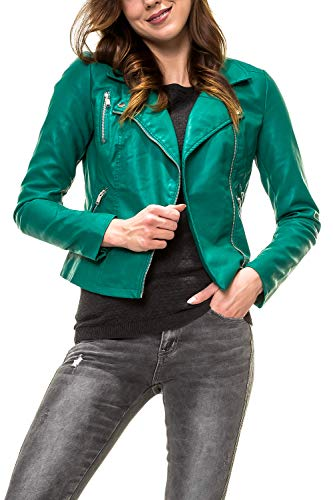 ONLY Damen Bikerjacke Kunstlederjacke (M, Cadmium Green)