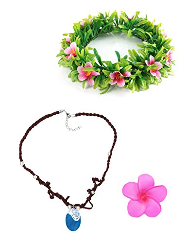 Muababy Girls Necklace with Hawaii Flowers Garland (Necklace with Headband for Adult)