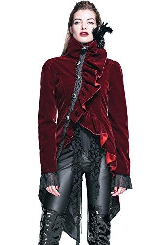 HaoLin Gothic Kleidung Punk Jacke viktorianisch Steampunk Mantel Cyberpunk Renaissance Kostüm - Rot - X-Groß
