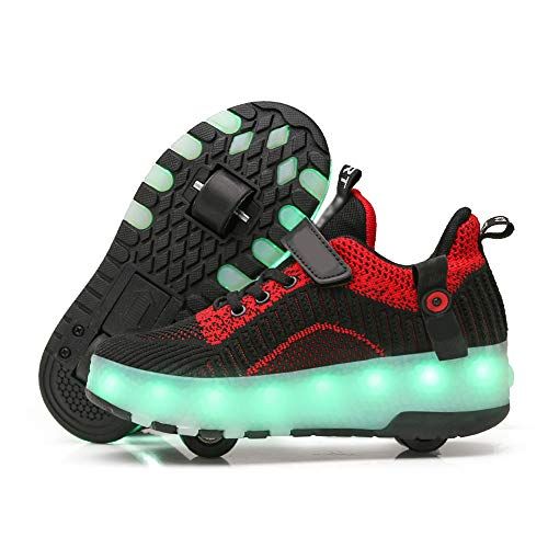 SSCYHT Zapatos con Ruedas Zapatillas para niños y niña Led Luces Zapatillas con Ruedas Se Puede Bambas con Ruedas Automática Calzado de Skateboarding,Negro,34