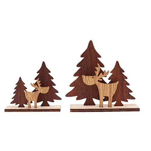 ifundom 2 Pezzi di Renna in Legno Decorazione Renna Figurine Albero di Natale Decorazione da Tavolo Decorazione Camino Vacanza