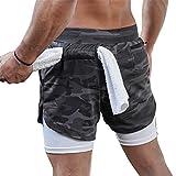 Whitzard Pantaloncini sportivi da uomo, pantaloncini da corsa, con custodia per cellulare, 2 in 1, ad asciugatura rapida, per fitness e corsa Camuffamento nero M