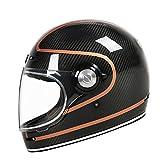 Casco integral de fibra de carbono ECE vidrio transparente estilo vintage ultraligero casco motocross scooter casco EYE XXL
