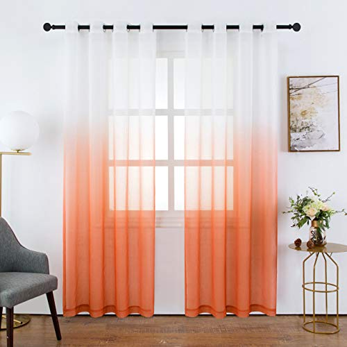 Bermino Faux Linen Sheer Curtains Voile Grommet Semi Sheer Curtains for Bedroom Living Room Set of 2 Curtain Panels 54 x 84 inch Orange Gradient