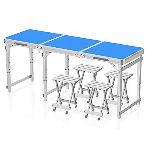 Household items Tragbarer Klapptisch 180CM großer Camping-Tisch, höhenverstellbarer Picknicktisch im Freien, Klapp-Esstisch aus Aluminiumlegierung mit Griffen, Für Strand Garten Grill Party
