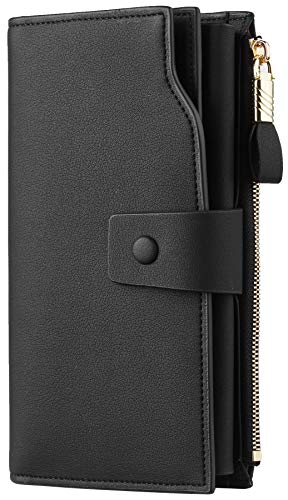 Travelambo Womens RFID Blocking Large Capacity Luxury Waxed Genuine Leather Clutch Wallet Multi Card Organizer (01 ReNapa Black)