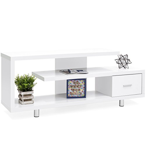 Best Choice Products Living Room Home Entertainment Systems Media Console TV Stand Storage Cabinet Display w/ 3 Shelves, Sliding Drawer - White