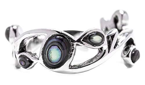 WINDALF Ring ARISHA h: 0.7 cm Seeopal 925 Sterlingsilber (Silber, 60 (19.1))