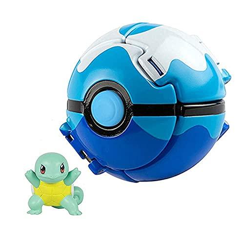 """Poké Battle Action Figures ,Throw Poké and """"N"""" Pop Poké Ball,Collection Pocket Monster Authentic Details Action Figure for Children's Toy Set (Squirtle and Dive Poké Balll) (Blue)"""