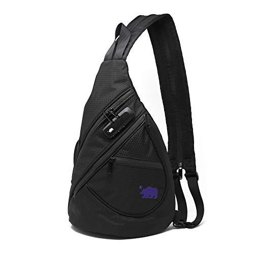 Cali Crusher Sling - 100% Smell Proof / Convertible Shoulder Pack (Black/Purple)