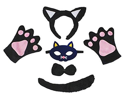Petitebelle Stirnband Bowtie Schwanz Handschuhe Maske 5pc Kostüm Einheitsgröße Schwarze Katze