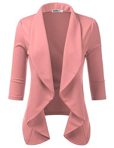 Doublju Womens Lightweight Thin 3/4 Sleeve Open Front Blazer with Plus Size Mauve 1X