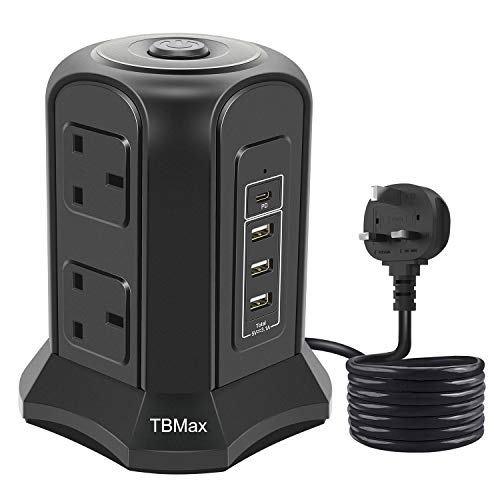 TBMax Tower Extension Lead with Type C Port, 6 Sockets Surge Protector Vertical Tower Power Strip with 3 USB-A Charging Slots (5V/3.1A) and 1 USB-C Port 2m Extension Cord for Home, Office