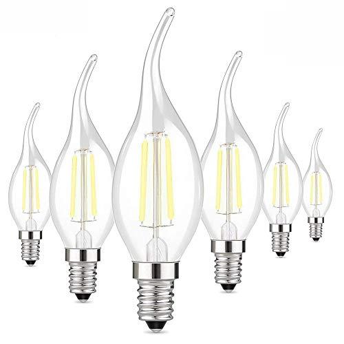 JALAL Bombillas de filamento LED E14-20W 40W Equivalente, lámpara de araña Blanca fría cálida, Vela Transparente, pequeño Tornillo Edison C35, Paquete de 6, 2W 4W