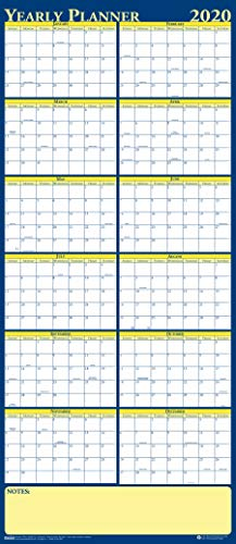 House of Doolittle 2020 Laminated Wipe Off Wall Calendar, Reversible, 60 x 26 Inches, January - December (HOD3974-20)