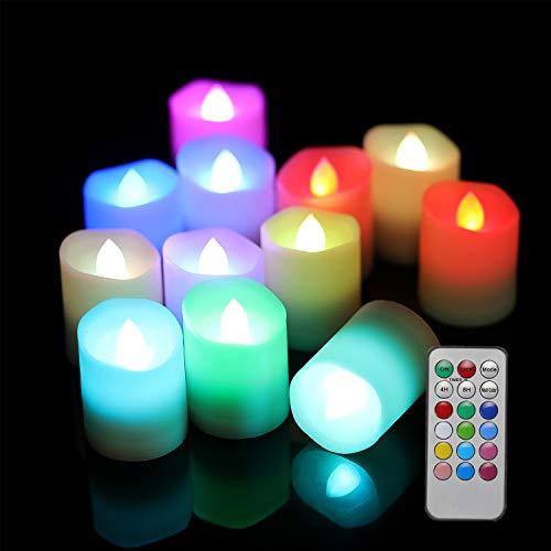 Velas LED con mando a distancia, 12 LED, realistas, sin llam