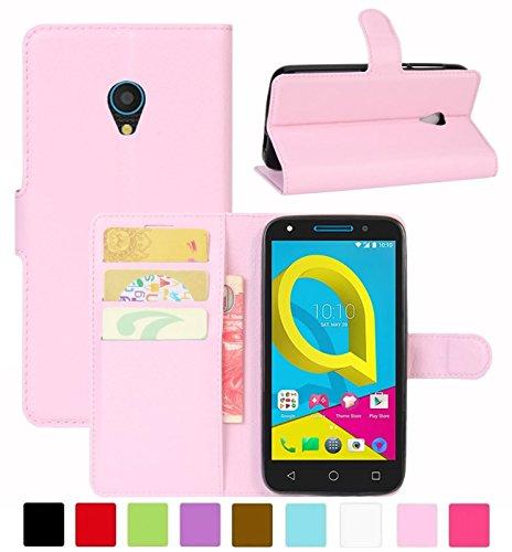 HualuBro Alcatel U5 3G Hülle, Leder Brieftasche Etui Tasche Schutzhülle HandyHülle [Standfunktion] Leather Wallet Flip Hülle Cover für Alcatel U5 3G (Pink)