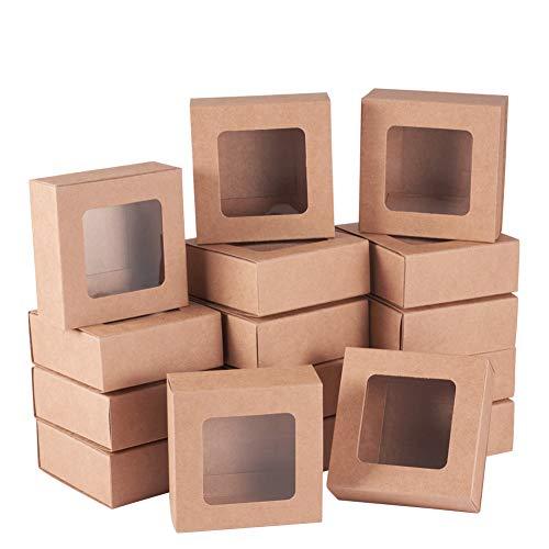 BENECREAT 24 Packungen Quadratische Kraftpapier Schubladenboxen mit Fenster 6,5 x 6,5 x 3 cm Papier Geschenkboxen für die Aufbewahrung von Bäckereipartys