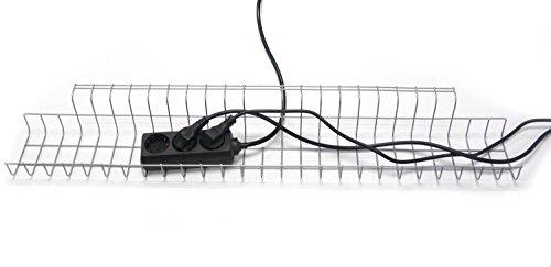 Kabelkorb 790 für Schreibtische, B790 x T100 x H80-85 mm, silber