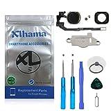 Xlhama Botón Home para iPhone 5S/SE Cable Flexible, Soporte de Metal preinstalado Kit Desmontaje transformación de reemplazo con Completa + Herramientas Incluidas-Negro