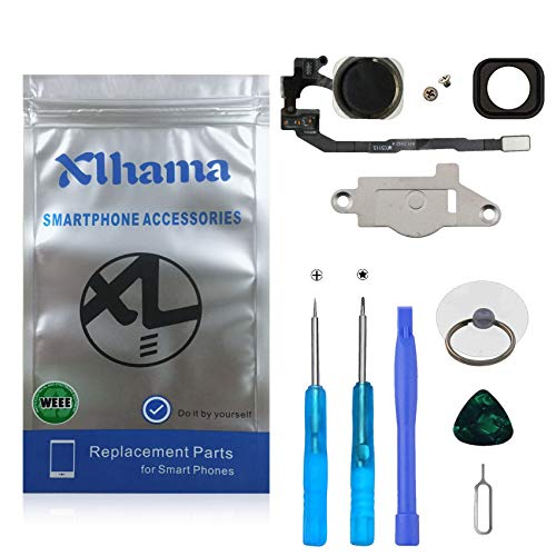Xlhama Bouton Home pour iPhone 5S Se (Noir) avec Connecteur Nappe Flex Cadre en métal Protège Bouton et Joint en Caoutchouc Préinstallés Inclus Kit de Outils de Réparation