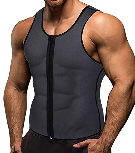 Memoryee Men Sauna Sweat Zipper Vest per Perdere Peso Hot Corsetto in Neoprene Vita Trainer Body Top Shapewear Slimming Shirt Workout Suit/Grigio/L