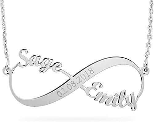 Madeindirect Infinity Namenskette 925 Sterling Silber Individuelle Unendlichkeit Halskette Persönalisierte Herz Halskette Silber/Rosegold/Gold mit Namen