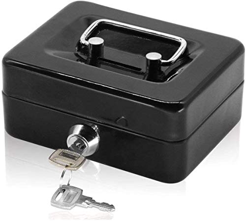 Kleine Geldkassette mit Tastensperre, tragbare Metall-Spardose mit Doppelschicht und 2 Schlüsseln für Sicherheit 12.5 * 10 * 5.6cm(S, Schwarz)