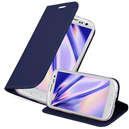 Cadorabo Custodia Libro per Samsung Galaxy S3 / S3 Neo in Classy Blu Scuro – con Vani di Carte, Funzione Stand e Chiusura Magnetica – Portafoglio Cover Case Wallet Book Etui Protezione