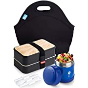Bento Lunch Box With Thermos Vacuum And Lunch Bag   Lunch Containers Storage   Stainless Steel Food Jar Thermal   fNeoprene Lunch Tote For Adults, Men & Women,Kids  Insulated, Cooler, Leakproo