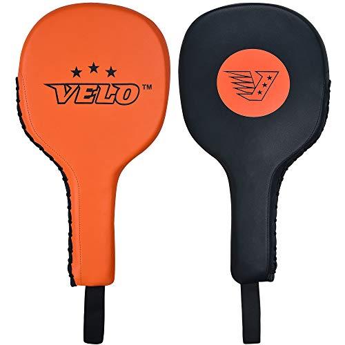 VELO Taekwondo Kick Pads Microfiber Leather Double Kick Durable Strike Pads Kickboxing Training Combat Sports Karate Kicking Target (Single Item Only) (Orange-Black)
