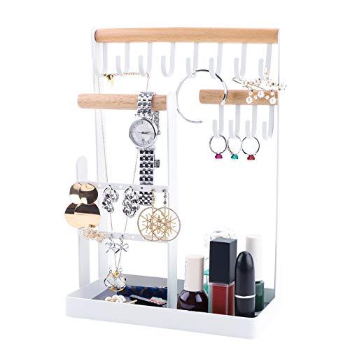 Soporte de para organizador de joyas Ganchos de madera y metal Soporte para organizador de joyas para bandeja de exhibición de joyas Collares de mesa Anillos Organizador de exhibición de relojes