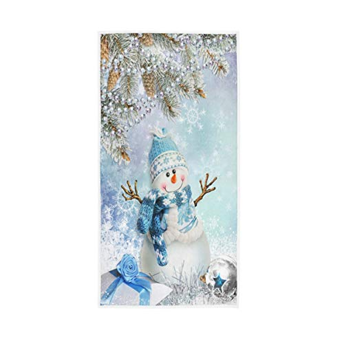 Merry Christmas Snowman Hand Towels 16x30 in Snowflake Pine Cones Bathroom Towel Ultra Soft Absorbent Ball Winter Bath Towel Kitchen Dish Guest Towel Xmas Decorations