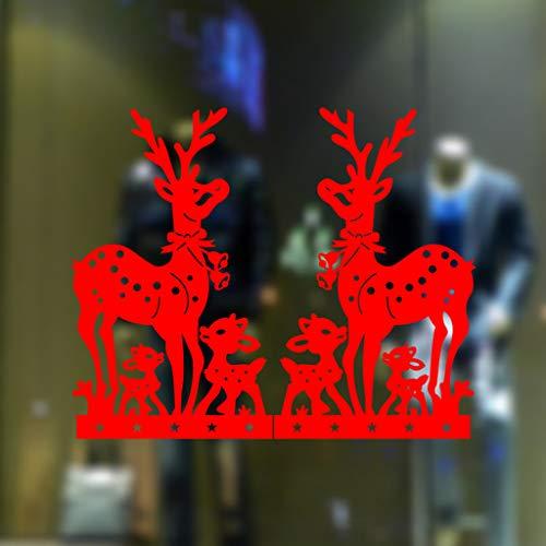 About1988 Selbstklebend Rehe Hirsch Rentier Fensterbilder Wald Schneeflocken Fenstersticker, Fensterbilder Weihnachten, PVC Entfernbarer Elektrostatischer Aufkleber Weihnachtssticker (Rot)